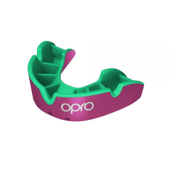 OPRO Mouth Guard Silver - Pink/Fl Green