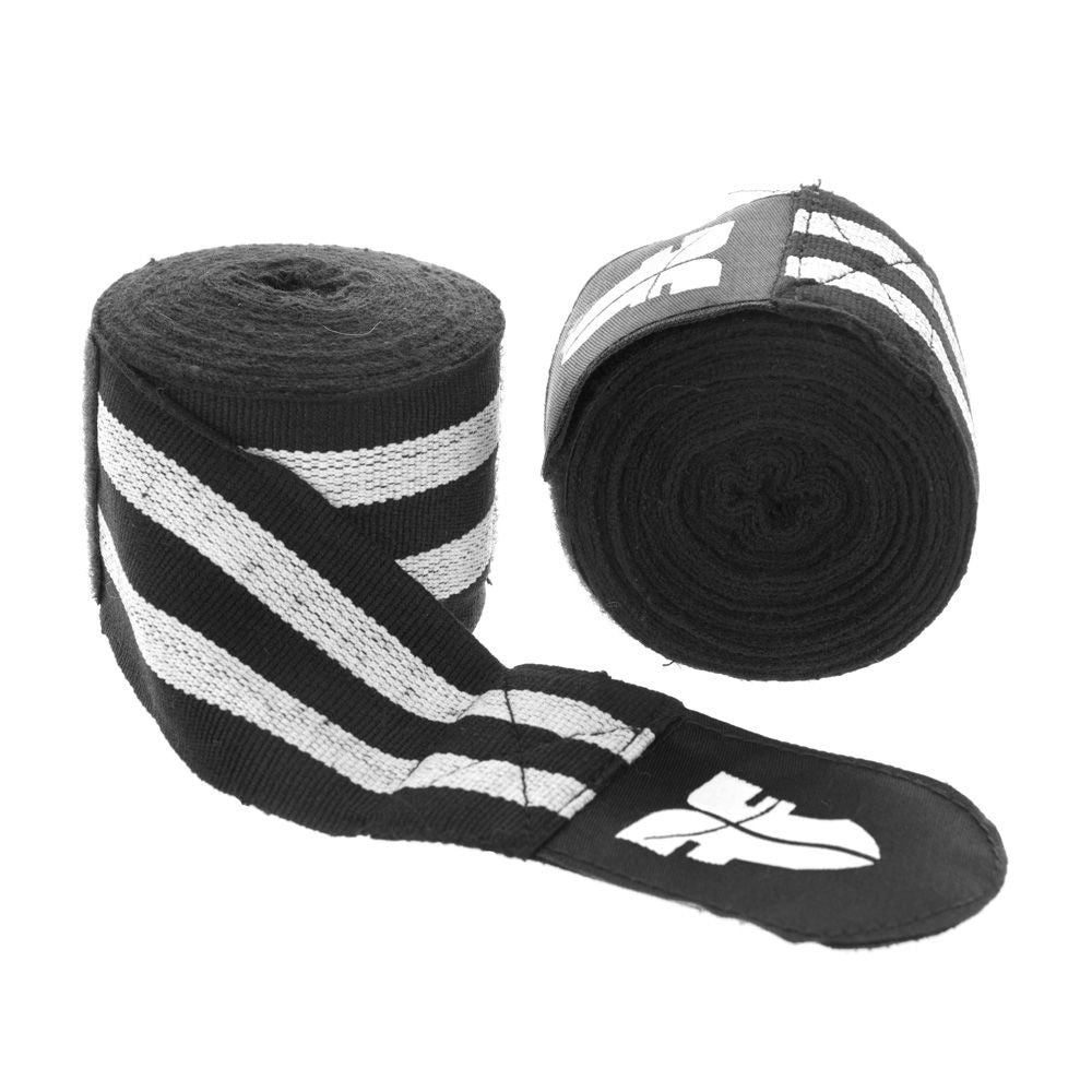 Fighter Black/White striped Polycotton Handwraps