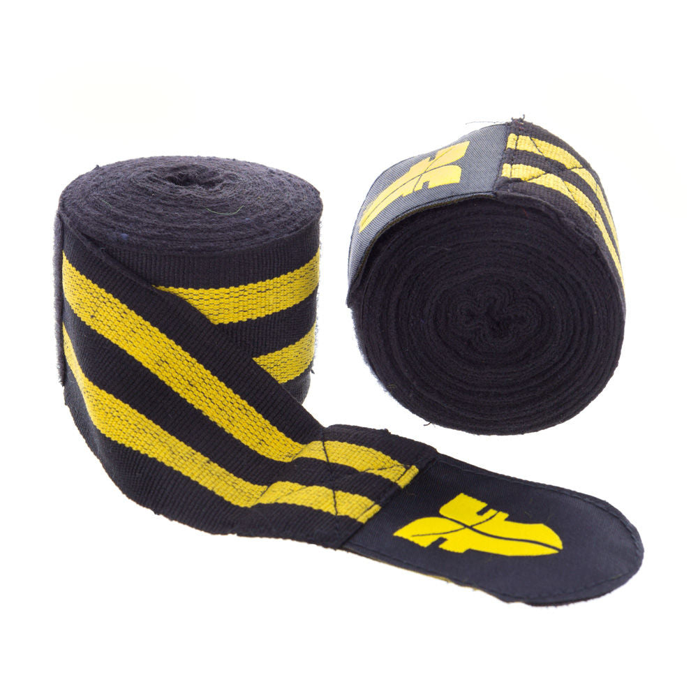 Fighter Black/Yellow striped Polycotton Handwraps