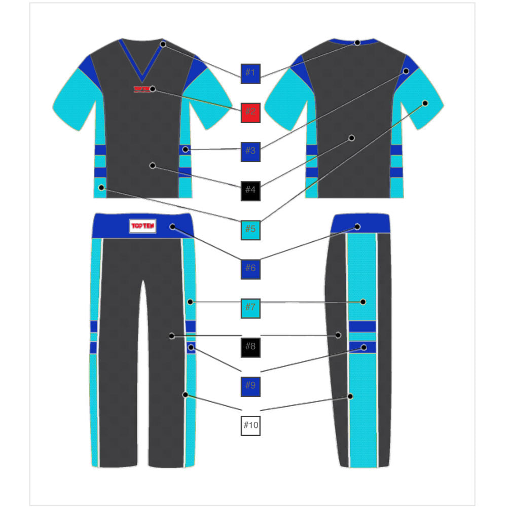 Fight TOP TEN -uniform- NEON EDITION - black/blue