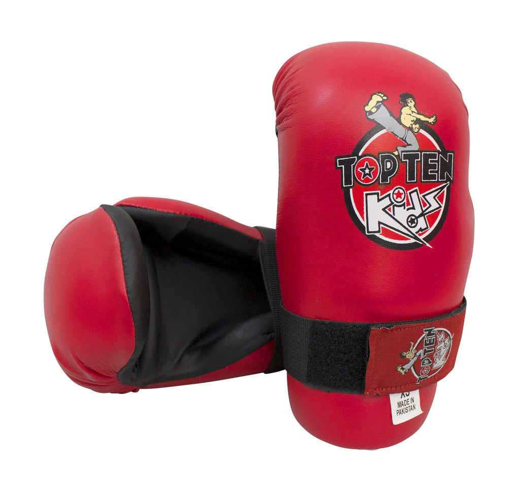 Top Ten KIDS Collection Red Open-Hand Martial Arts Gloves