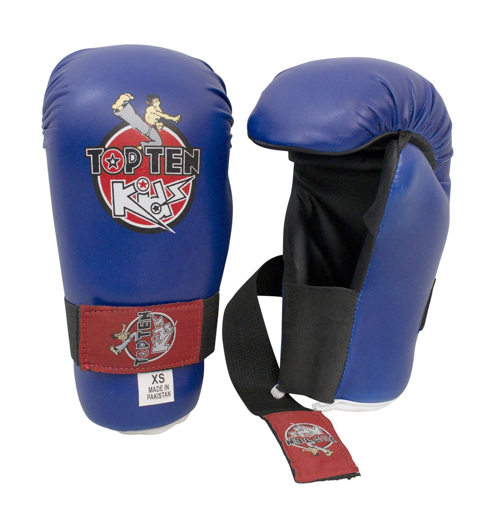 Top Ten KIDS Collection Blue/Red Open-Hand Martial Arts Gloves