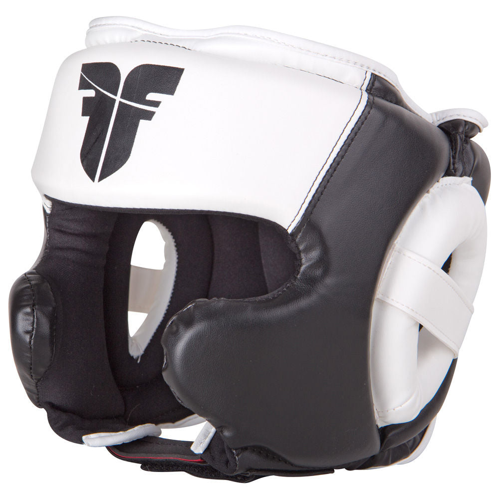 Fighter PU Black / White Sparring Headguard