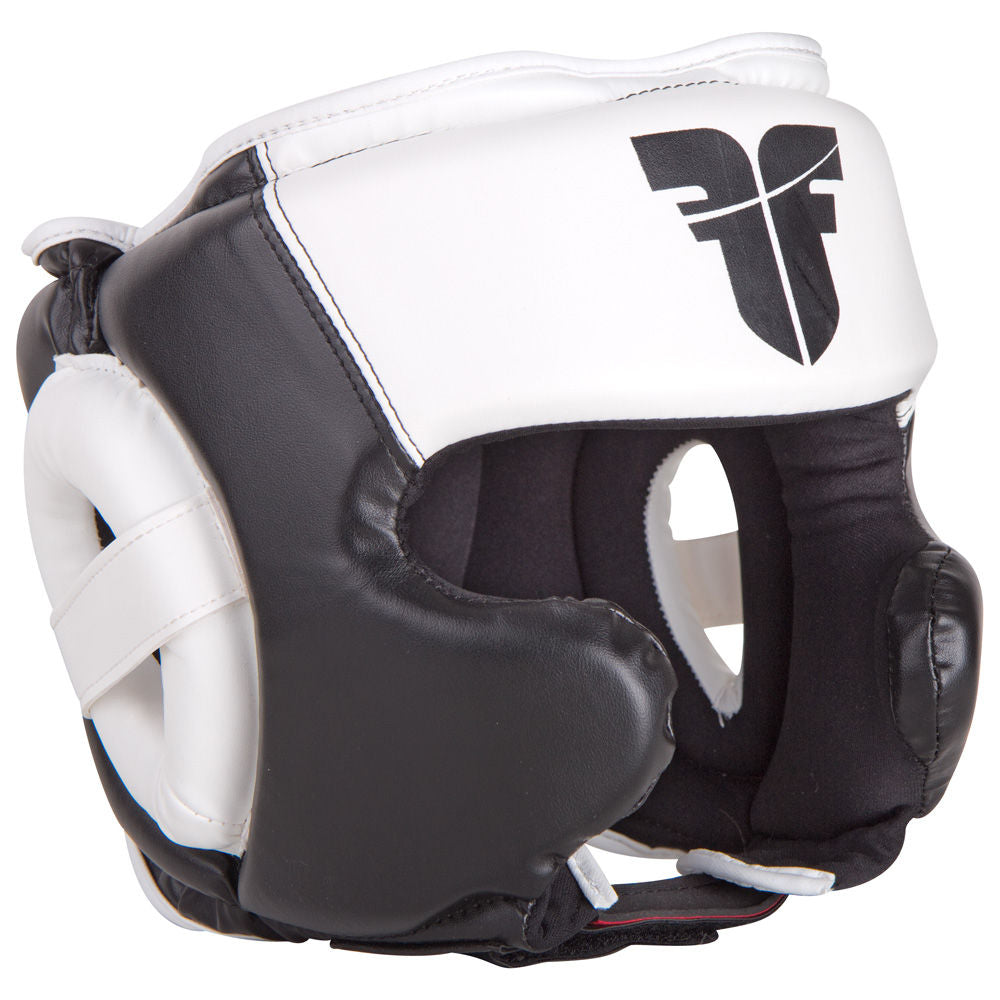 Fighter Leather Black / White Sparring Headguard