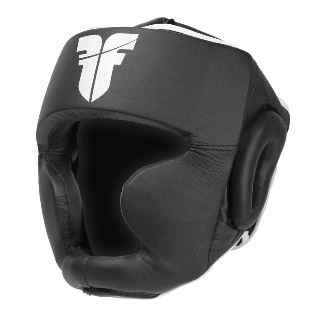 Fighter Synthetic Leather Full Sparring Headguard - black/white