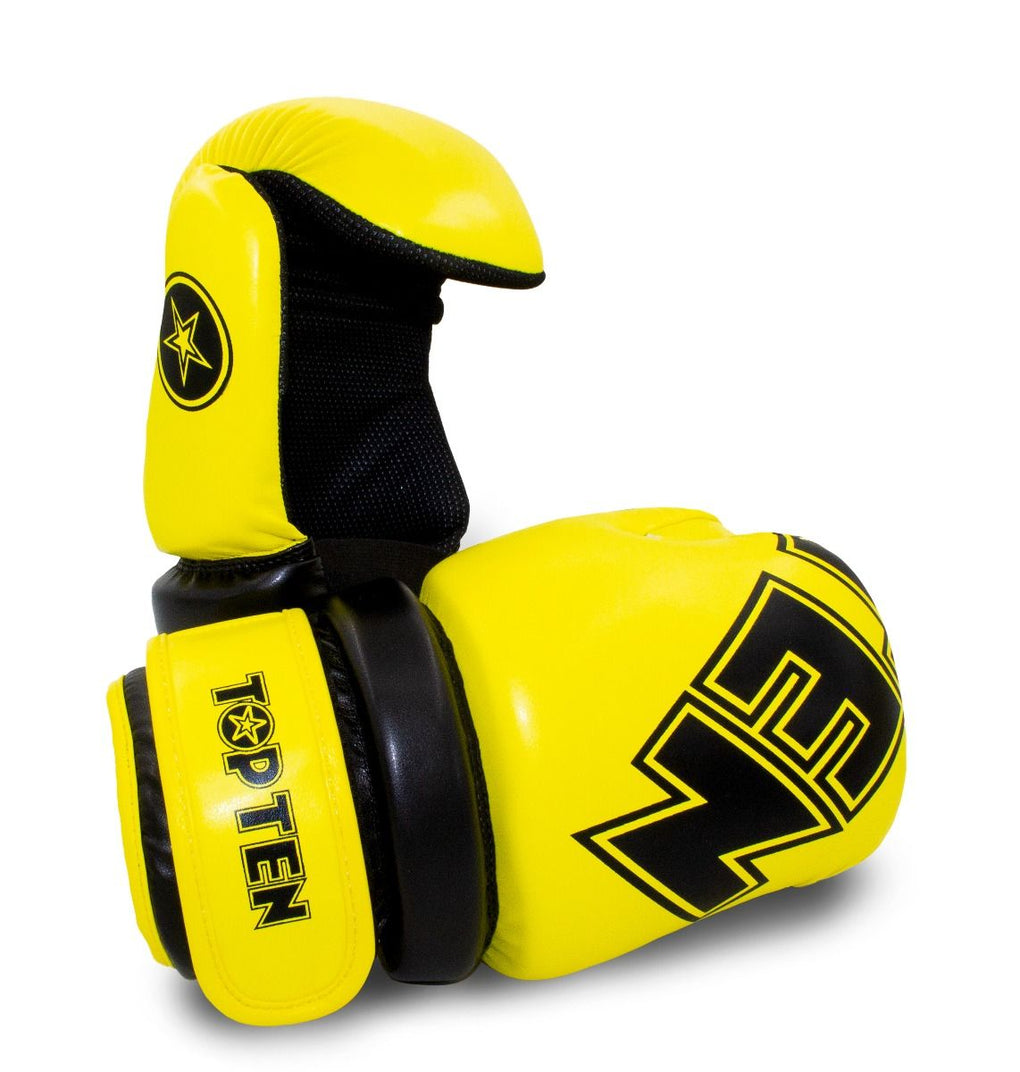 TOP TEN Glossy yellow/black Pointfighter Open-Hand Gloves