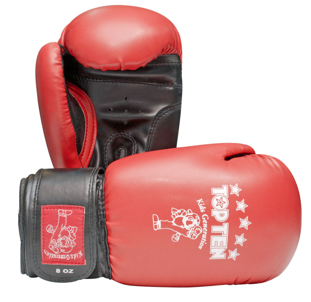 TOP TEN Kids Collection Red/Black Velcro cuff Boxing Gloves