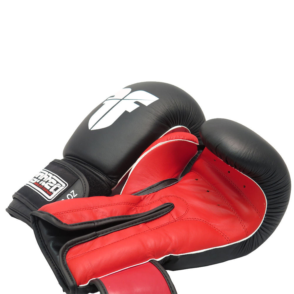 Fighter Leather Black- Red palm Injection Molded Boxing Gloves