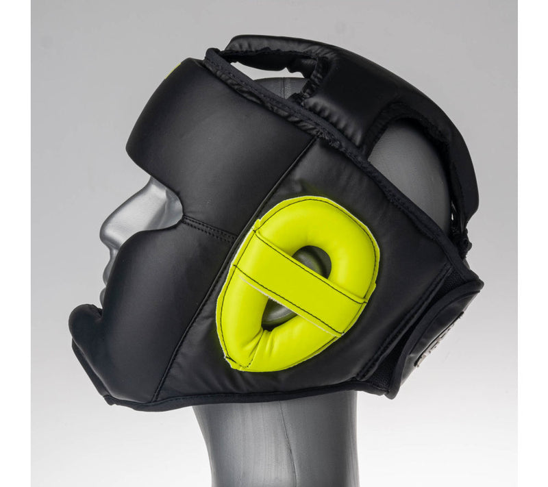 Headguard Fighter Sparring - black/neon yellow