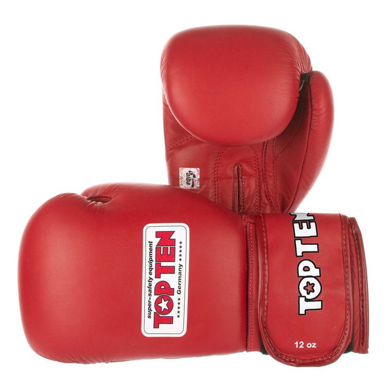 TOP TEN Boxing Gloves Competition AIBA - red