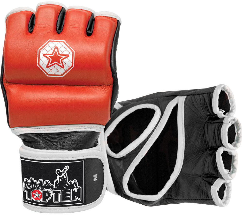 Top Ten Red/Black/White Leather Double-wrap MMA Training Gloves