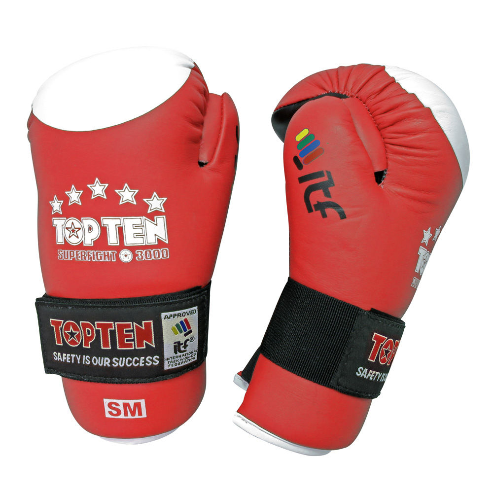 TOP TEN ITF Taekwon-Do Superfight Leather Red/White Open Hand Gloves
