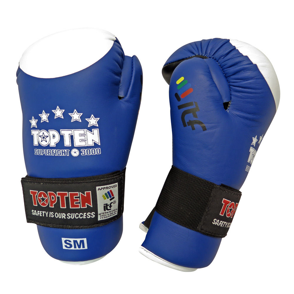 TOP TEN ITF Taekwon-Do Superfight Leather Blue/White Open Hand Gloves