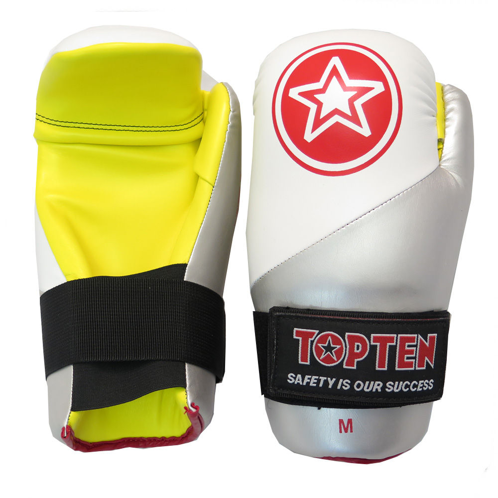 TOP TEN Glossy Point Fighter White/Silver/Yellow STAR-Split Open Gloves