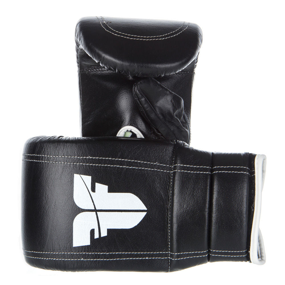 Fighter Black/White Leather Covered Thumb Bag Gloves