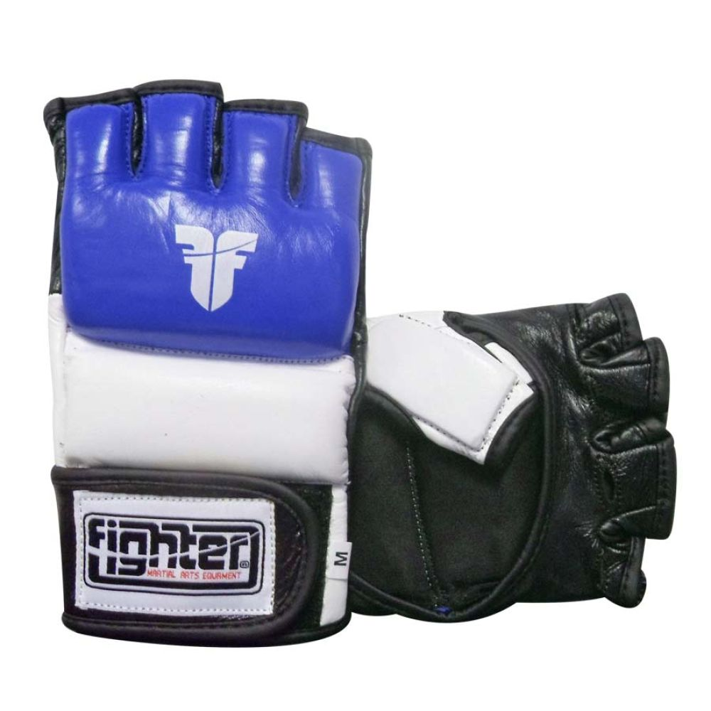Fighter Amateur ISKA APPROVED Blue/White/Black Leather MMA Gloves