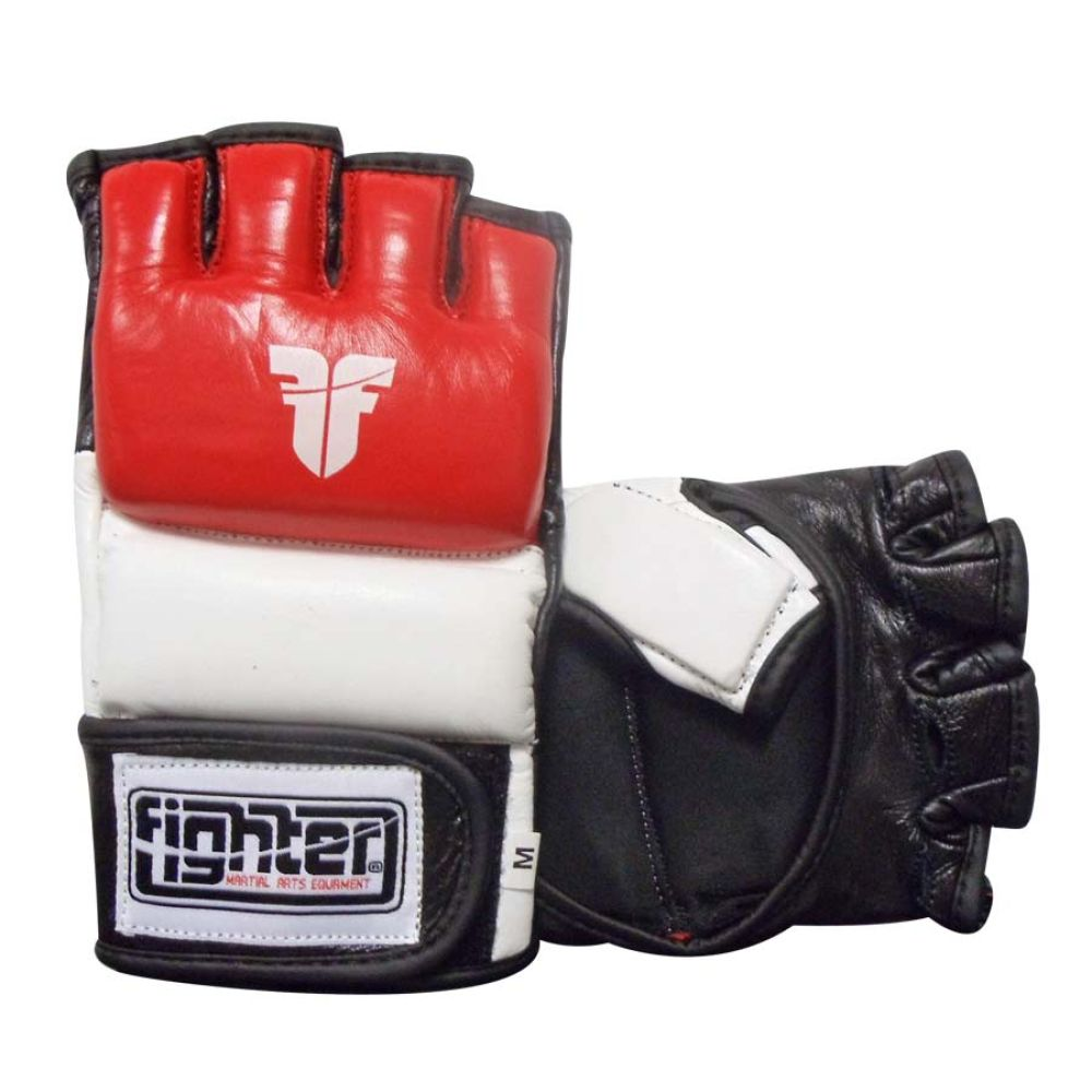Fighter Amateur ISKA APPROVED Red/White/Black Leather MMA Gloves