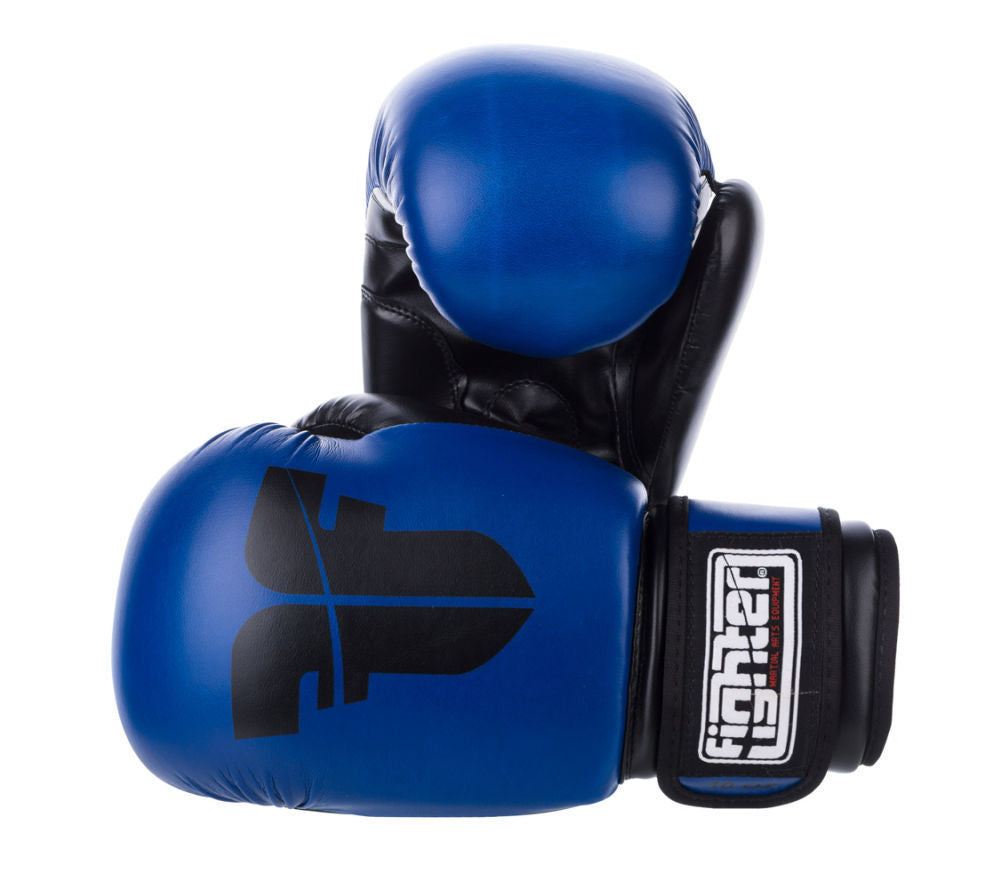 Fighter Synthetic Leather Basic Blue/Black 6-12oz Boxing Gloves