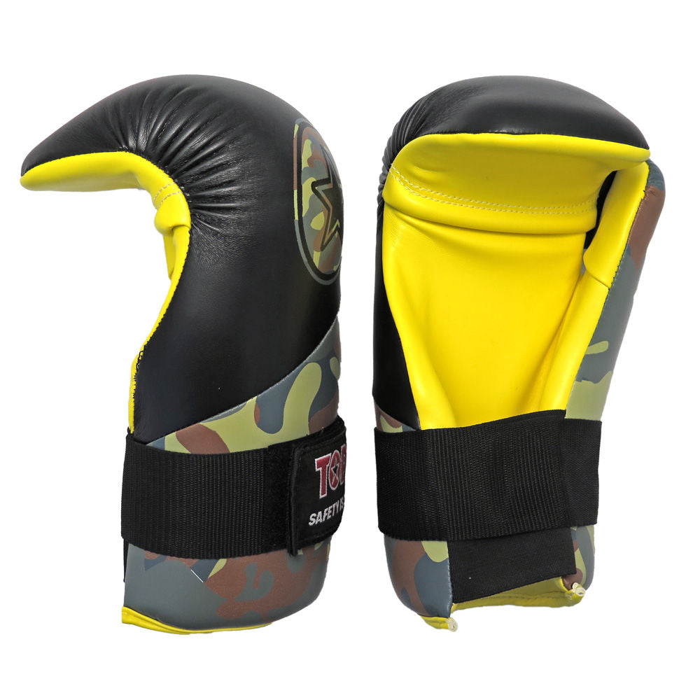 TOP TEN Black/Green/Yellow CAMO Energy Line Point fight Gloves