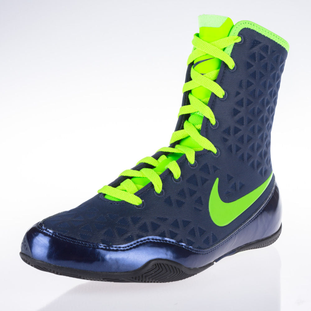 Nike KO Boxing Shoes - navy blue/eletric green