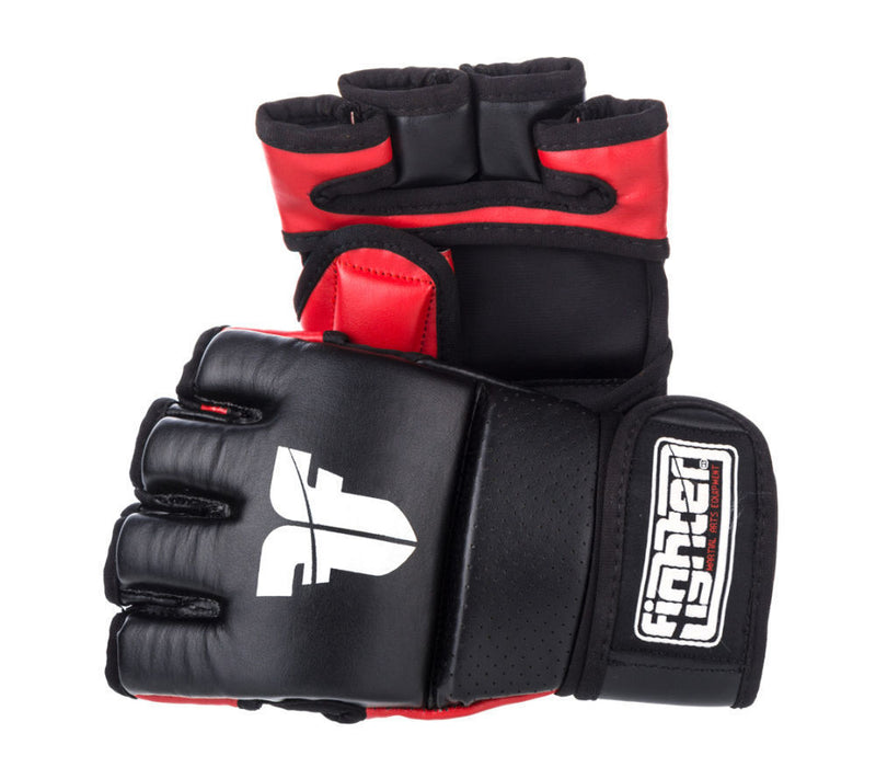 Fighter Black/Red Synthetic Leather MMA Gloves