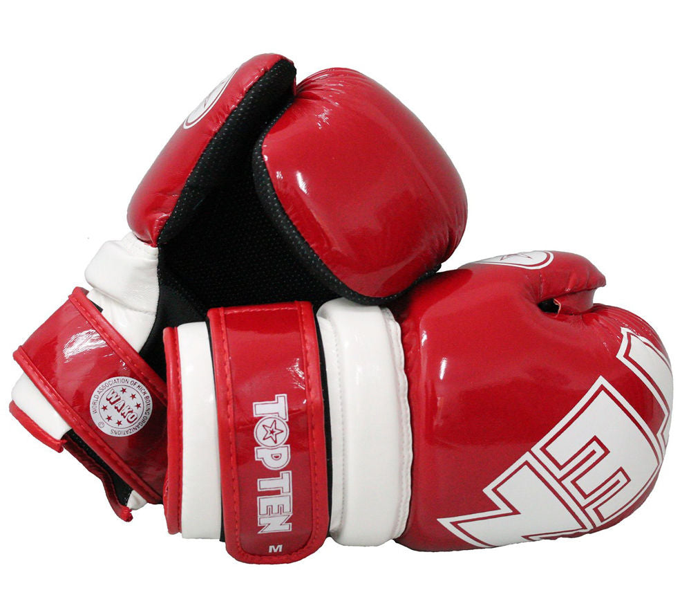 TOP TEN WAKO Glossy Red/White Pointfighter Open-Hand Gloves