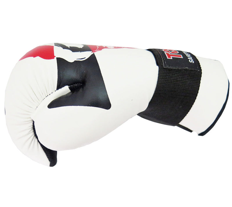 Top Ten SKULL White/Black/Red Point Fighter Open Hand Gloves