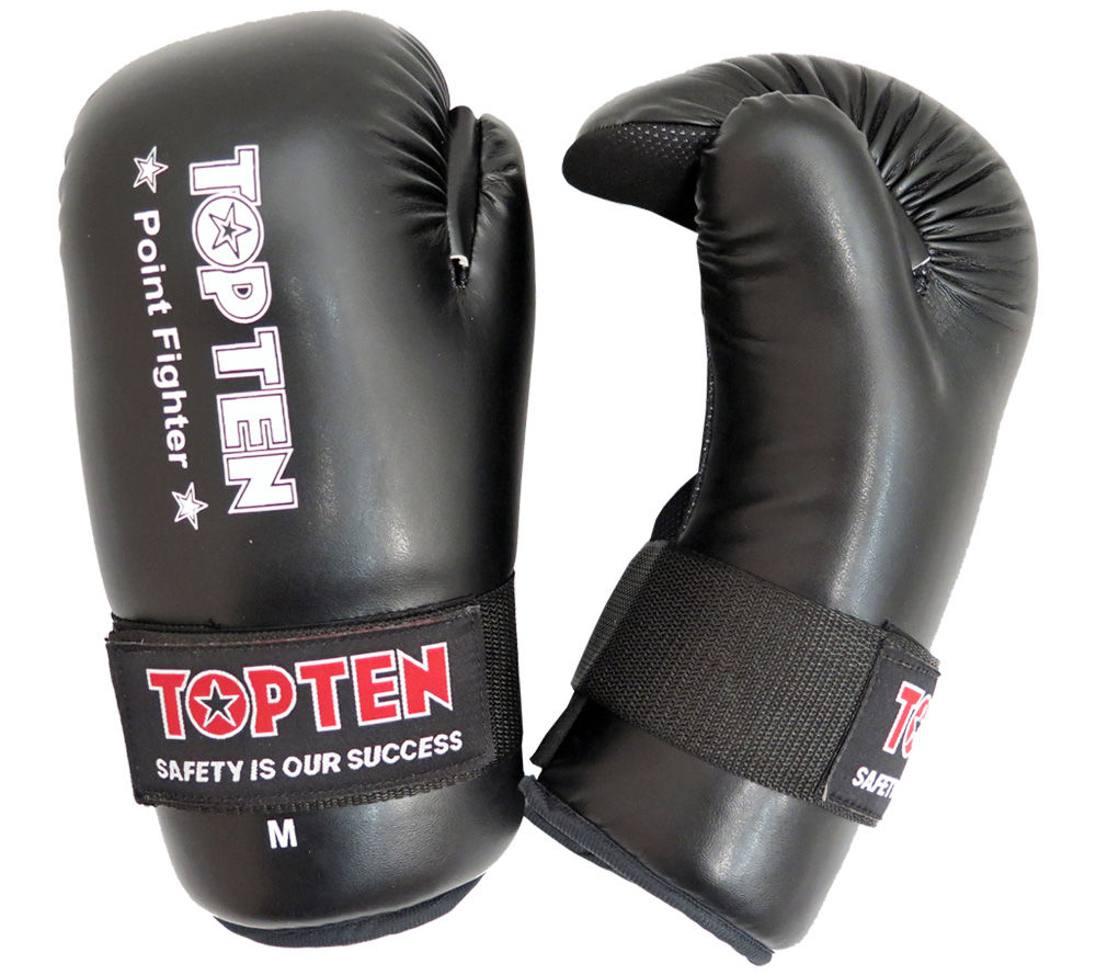 Top Ten Black Point Fighter Open Hand Gloves