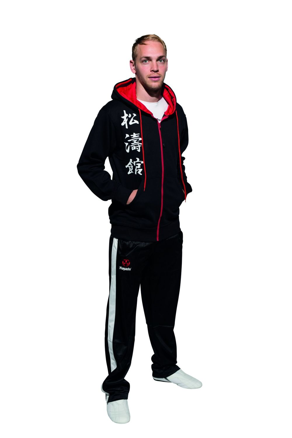 Hayashi Hooded Jacket Black Sweatsuit with Shotokan Karate KANJI