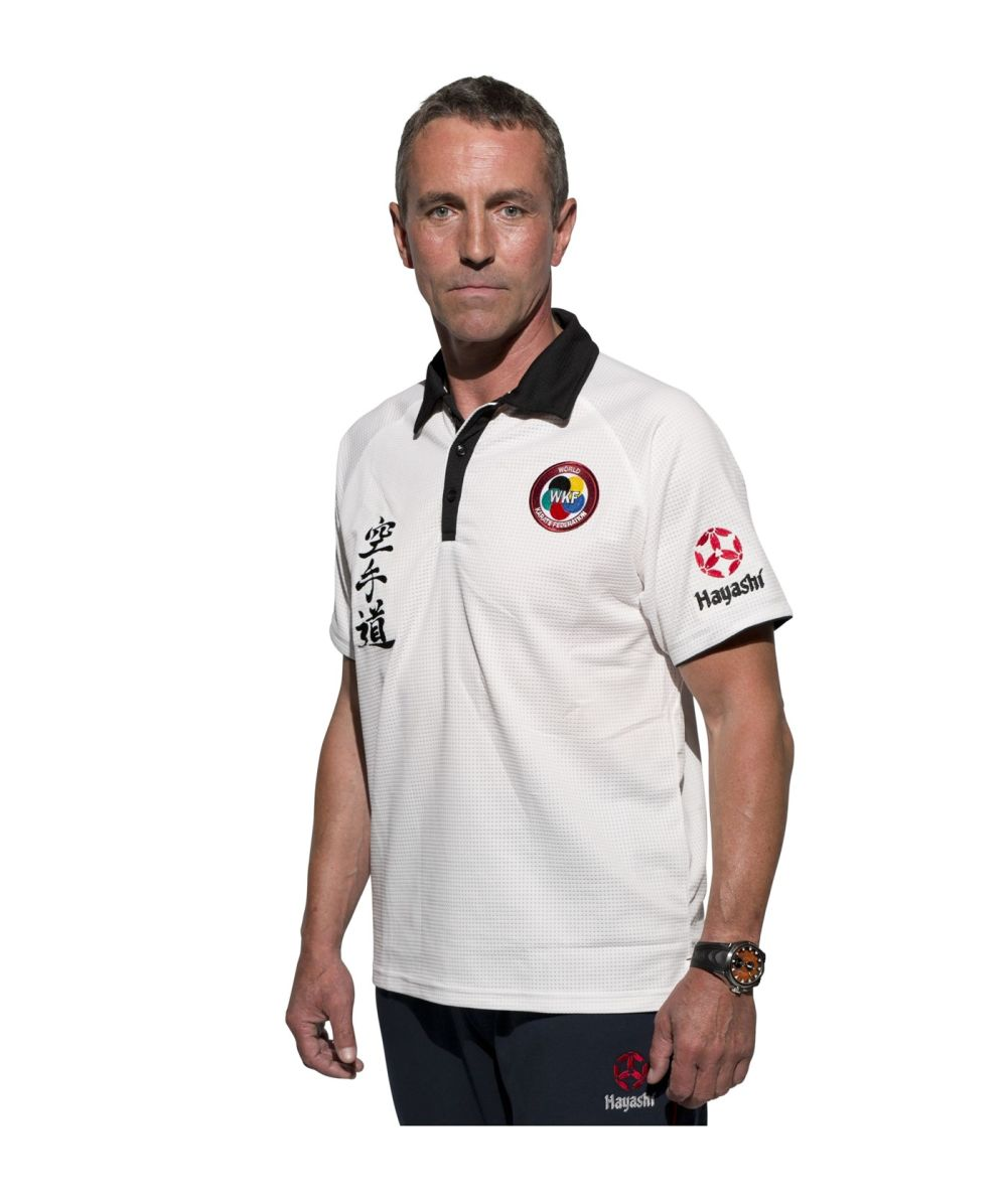 Hayshi WKF Karate-Do White / Black Collar Dryfit Polo Shirt