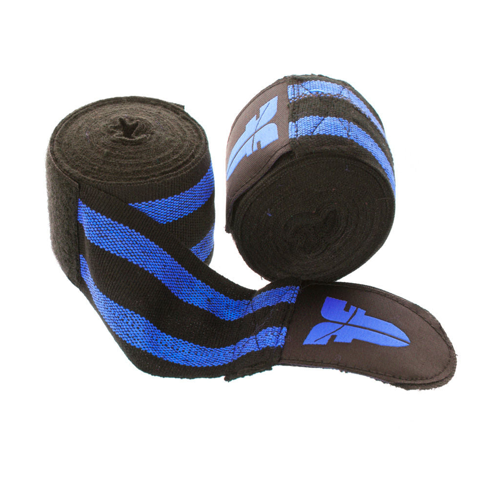 Fighter Black/Blue striped Polycotton Handwraps