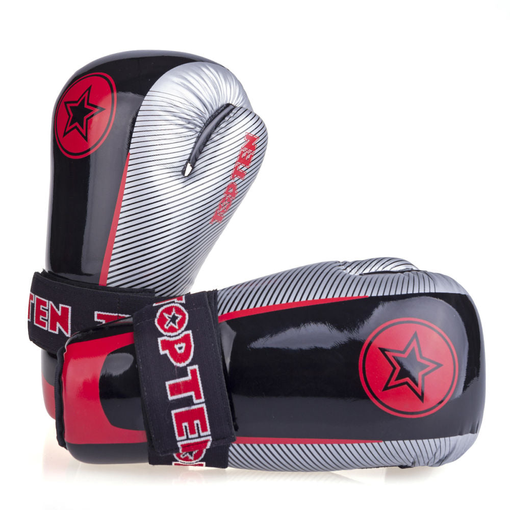 Top Ten Super-light Stars and Stripes Open Gloves - black/red/silver