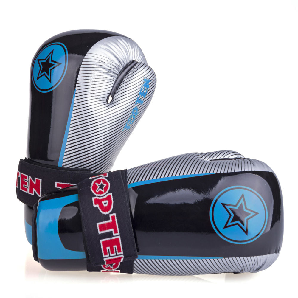 Top Ten Super-light Stars and Stripes Open Gloves - black/blue/silver
