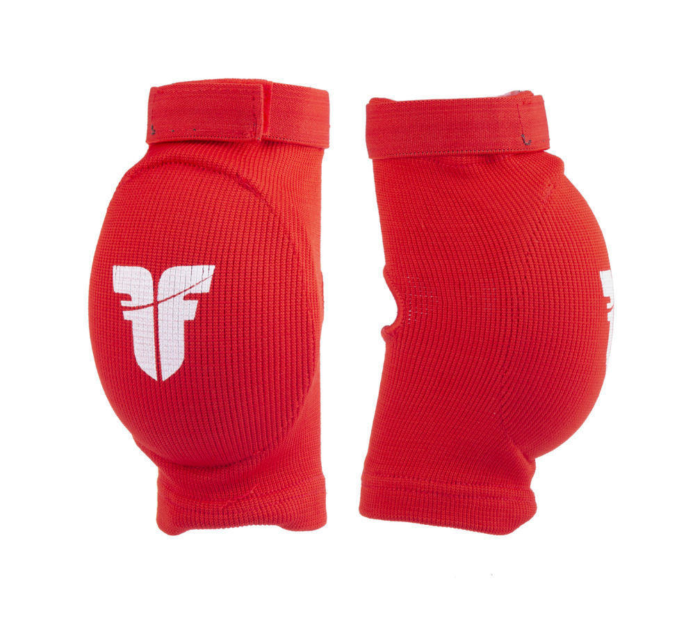 Fighter FF Elbow Guard Red Oval Cup Protector with Elastic Strap