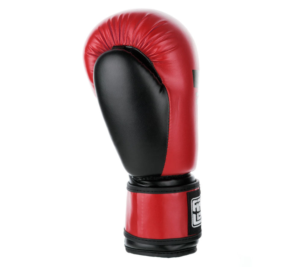 Fighter Synthetic Leather PU Basic Red/Black 6-12oz Boxing Gloves - red/black