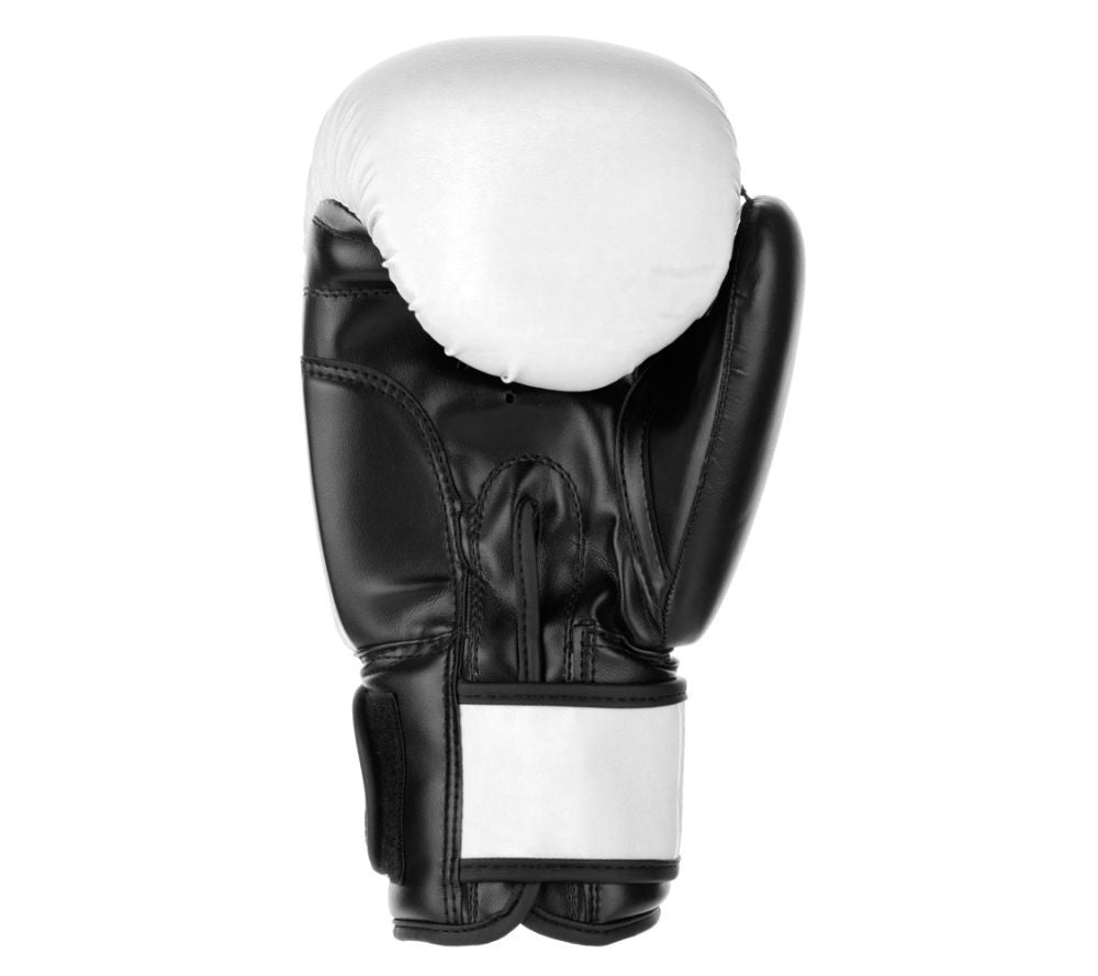 Fighter Synthetic Leather PU Basic White/Black 6-12oz Boxing Gloves