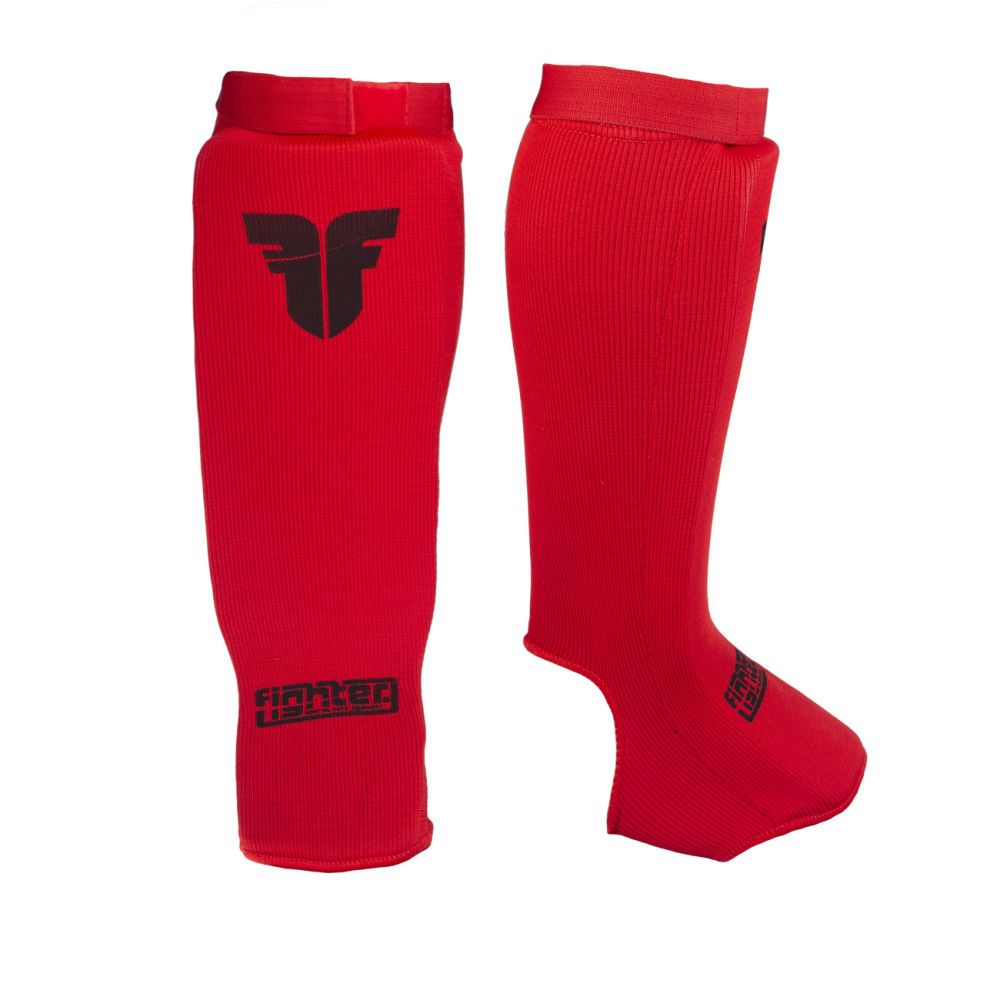 Cloth Fighter Competition Shin Instep Guard - red