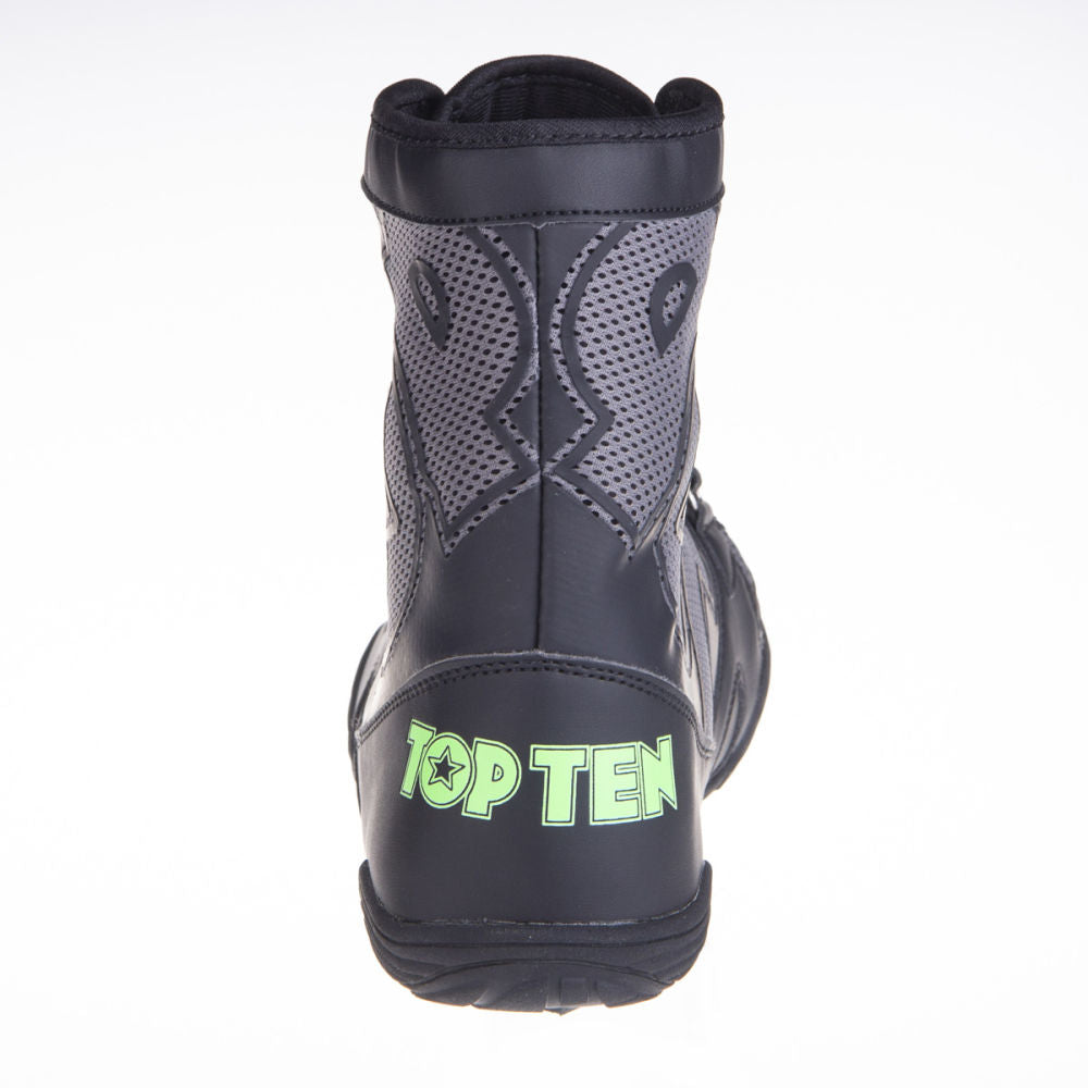 TopTen Boxing Shoes - Black/Grey Mid-Top with Lockdown Strap