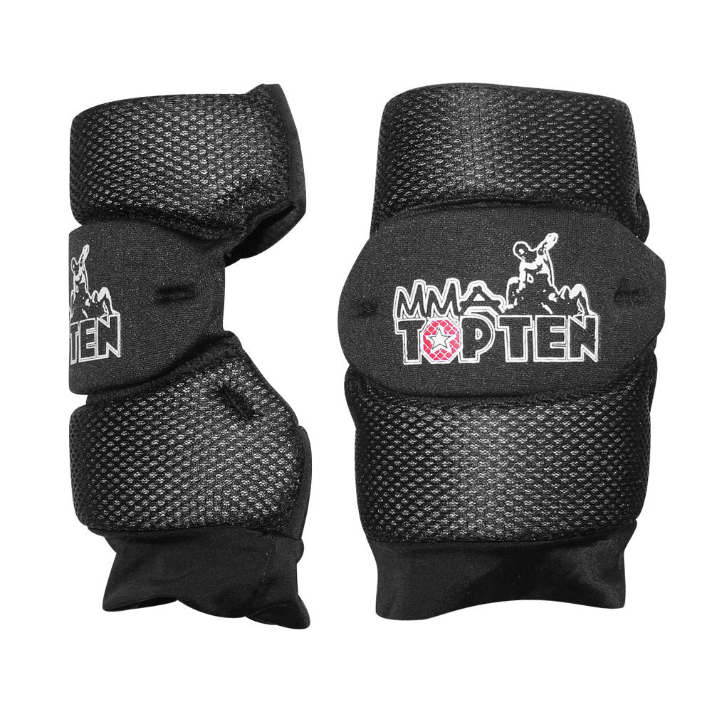 Top Ten MMA Three Section Dual Padded Elbow Guard Black Mesh