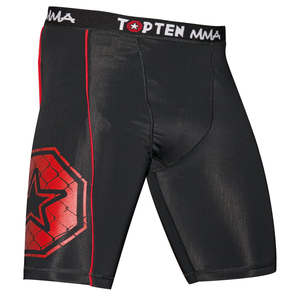 Top Ten MMA Compression Shorts black/red