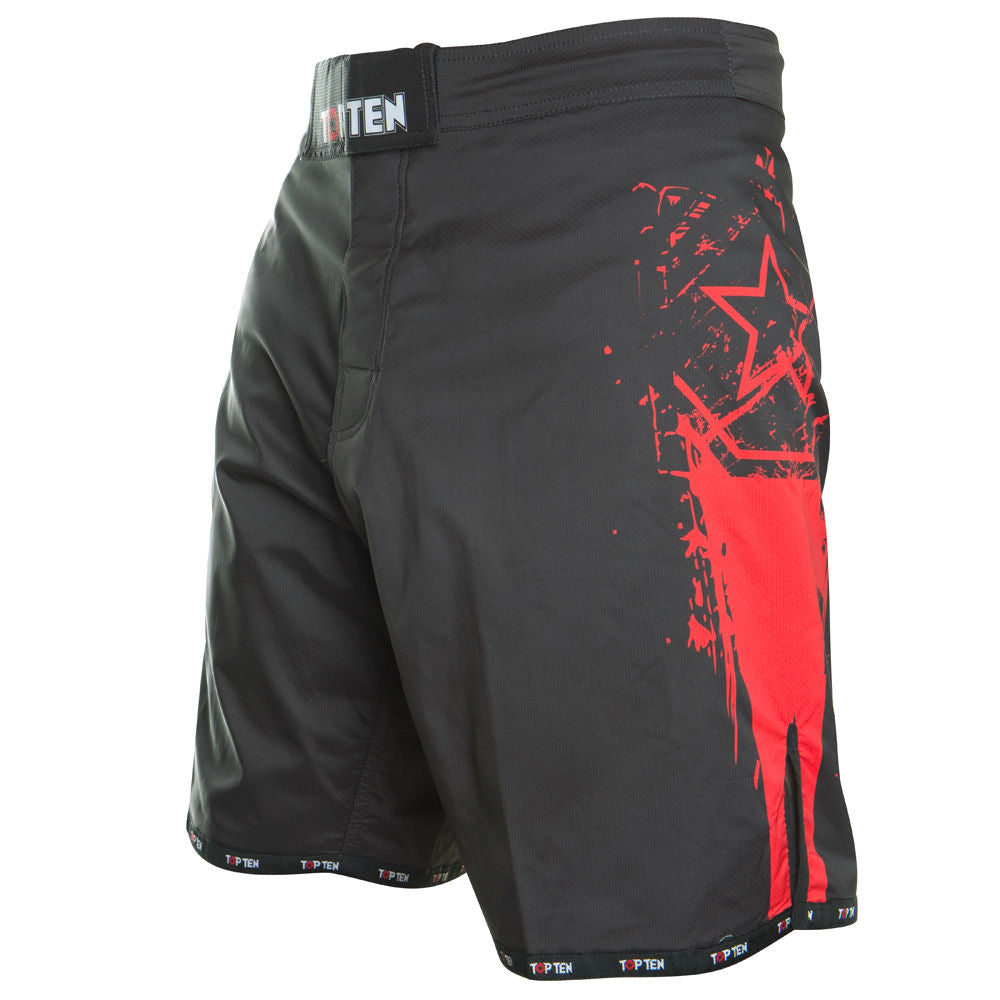 TOP TEN MMA Shorts Comet - black/red