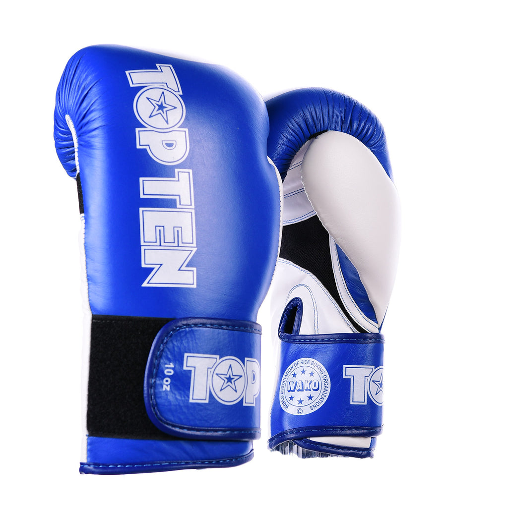 TOP TEN STAR Blue/White XLP WAKO Boxing Gloves