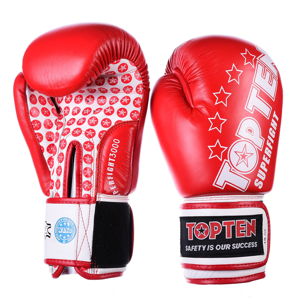Top Ten Superfight Gloves - red/white