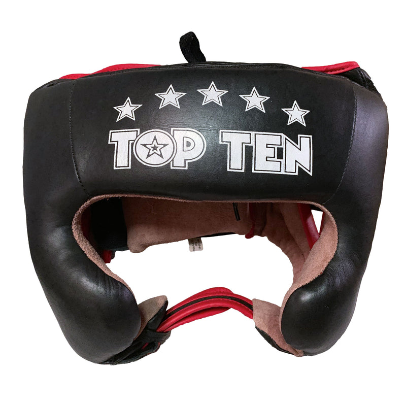 Top Ten Leather Cheek Protection Headguard  - black/red