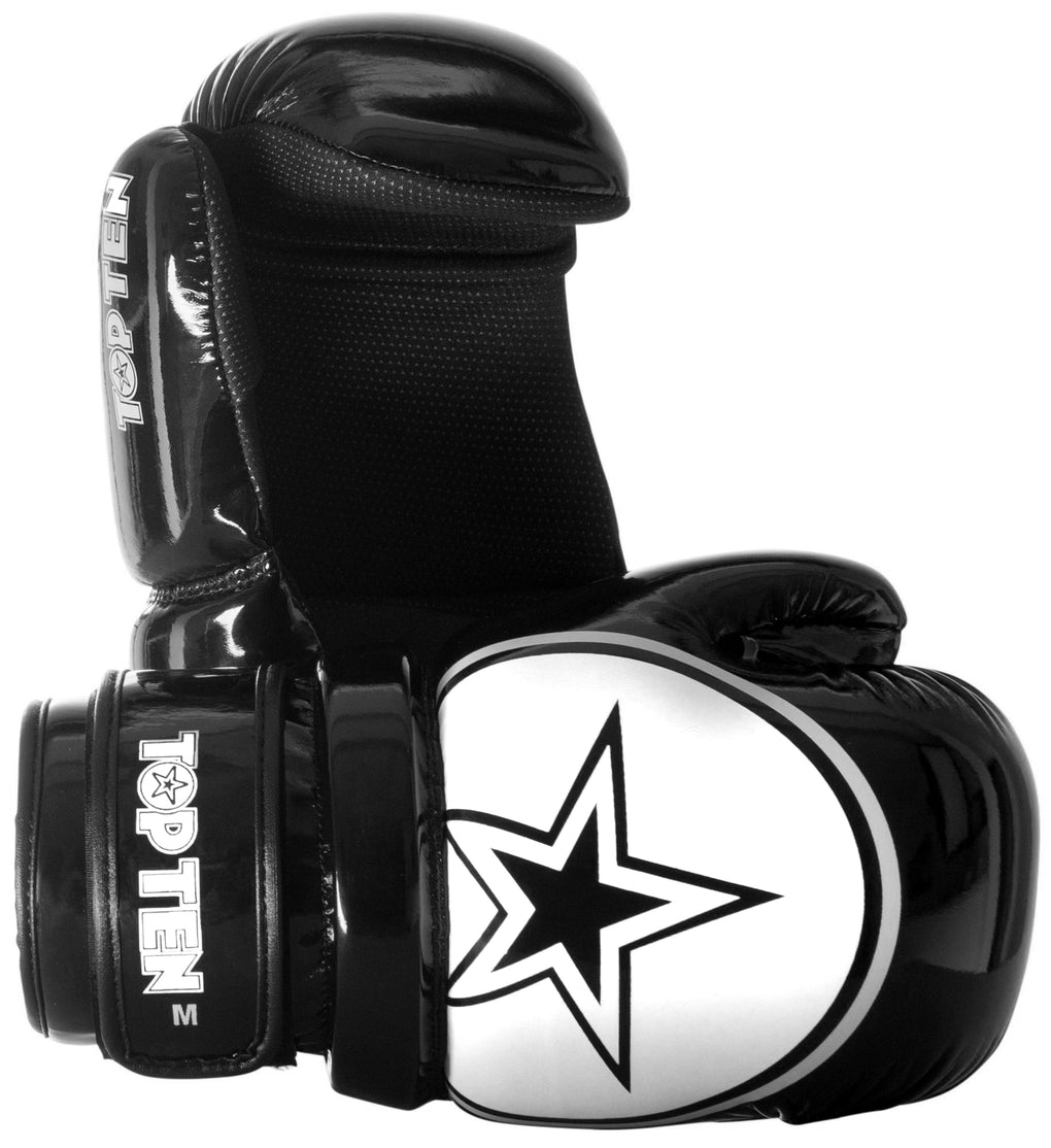 Top Ten New Edition Point-Stop Martial Arts Gloves Black/White Star