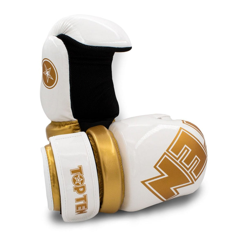 TOP TEN Glossy White/Gold Pointfighter Open-Hand Gloves