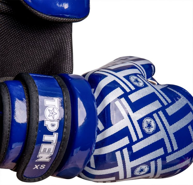 TOP TEN Glossy Blue/White Prism Pointfighter Open-Hand Gloves