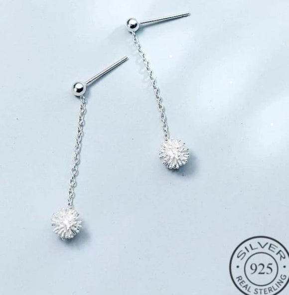 Aretes Dandelion Flower Drop de Plata 925 Sterling.