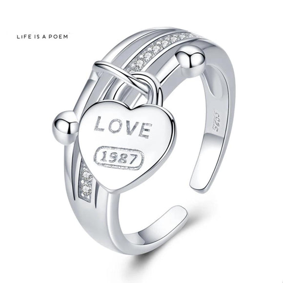 Anillo Ajustable LOVE-1987 de Plata 925 Sterling y Zirconias.