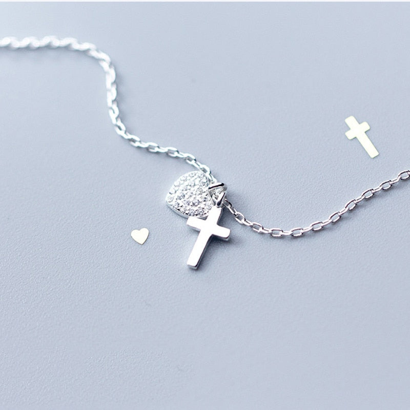 Collar Heart Cross de Plata 925 Sterling y Zirconias.